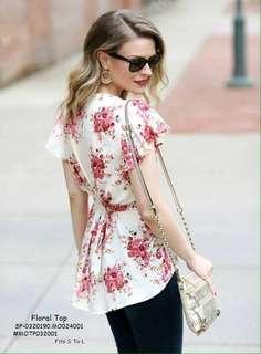 Milky cotton floral top fits S-L