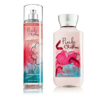 FRAGRANCE MIST & BODY LOTION PINK CHIFFON BATH & BODY WORKS
