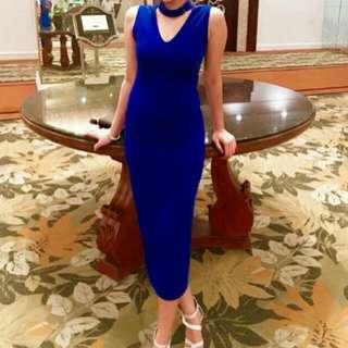 Royal Blue classy midi bodycon dress
