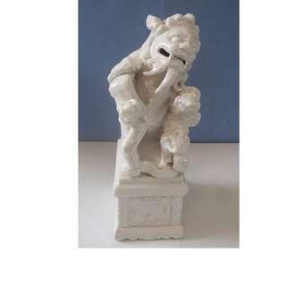 Vintage Dehua white porcelain foo dog pedestal horse motif circa 1950s