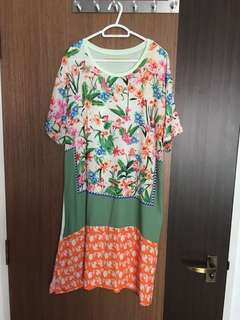 Spring Colourful Flowers Satin Dress