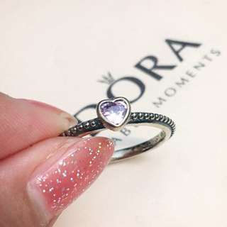 Authentic Pandora Pink Heart Ring Sz 54
