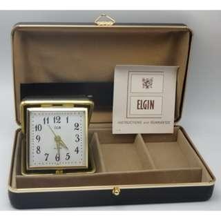 """70""""s 曰本制 ELGIN 旅行座檯 響鬧鐘+首飾盒"""