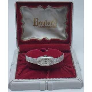Baylor-Swiss sliver-tone 17j 女裝上鍊手錶 W /Box