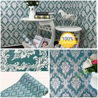 Grosir murah wallpaper sticker dinding indah biru batik putih