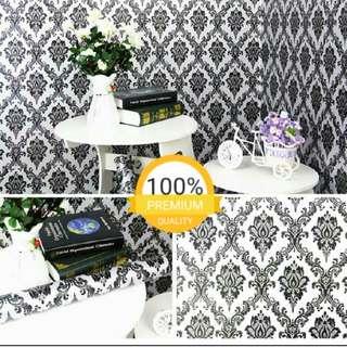 Grosir murah wallpaper sticker dinding indah putih batik hitam