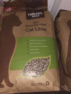 Nature's Eco Cat Litter recycled paper bedding 30 litres best deal