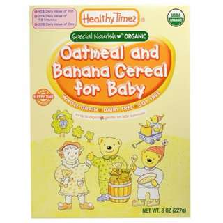 Healthy Times, Organic Cereal for Baby, Oatmeal and Banana