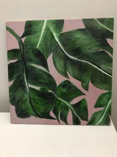 tile painting of leaves