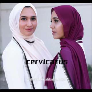 New Arrival Soft Chiffon Hijab Pearl And Chain Scarves