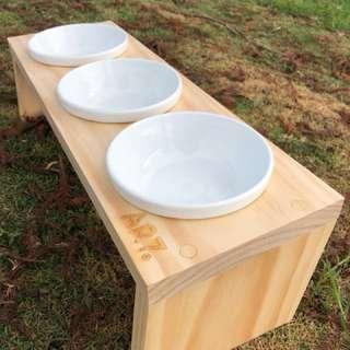 AR7 原木三口斜面碗架 貓狗通用 碗架 餐桌