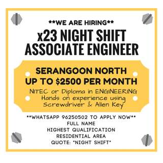 **x23 NIGHT SHIFT ASSOCIATE ENGINEER / TECHNICIAN**
