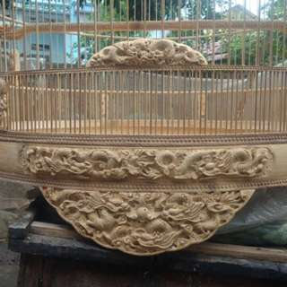 "🇻🇳  hand carved 23"" shama cage with detachable crown"