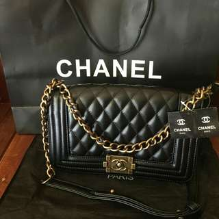 Chanel Le boy caviar black with bronze gold hardware premium copy