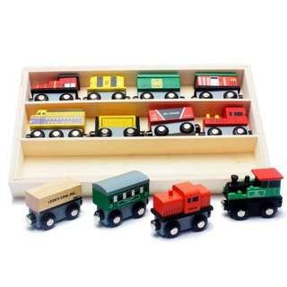 BN Wooden Magnetic Train Engines Wagons Toy Set w/Wooden Display Storage Box