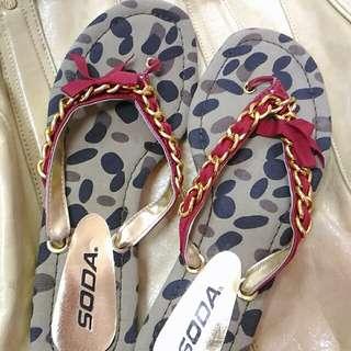迷彩鏈條夾腳鞋 7.5號