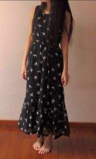 Swallow print maxi dress