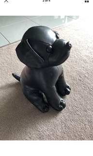 BNWT Black Synthetic Leather Dog Plush Toy Paperweight
