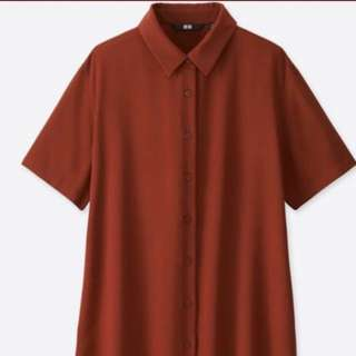 Uniqlo Rayon Short Sleeved Blouse/Button Up