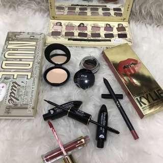 Mascara, eyeshadow, eyeliner, matte lipstick, etc