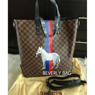jual tas LV Tote with Zebra LEATHER MIRROR - damier ebene