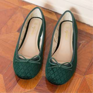 Marcha quilted velvet emerald green flats