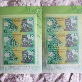 Uncut 3in1 Brunei $5 Notes
