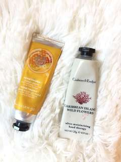 Crabtree & Evelyn , The Body Shop hand cream