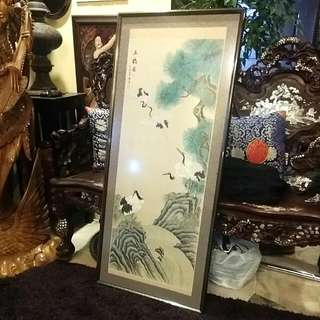 Chinese Ink Handpainted  Crane  Art Painting  With Artist Stamp And Signature