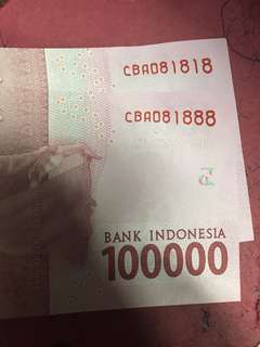 Nice no :81818 & 81888 rupiah 100 thousand Unc
