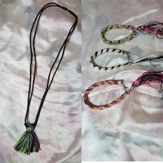 Bundle: Tassel Necklace + 3 Bracelets from Bali