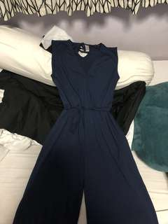 COTTON ON JERSEY JOSS CULOTTE JUMPSUIT SPACE NAVY SIZE S