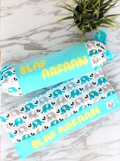 Elly Elephant Blue 2 Piece Baby Pillows Gift Set