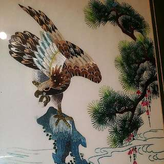 Chinese Embroidery  Eagles Vintage Art Framed