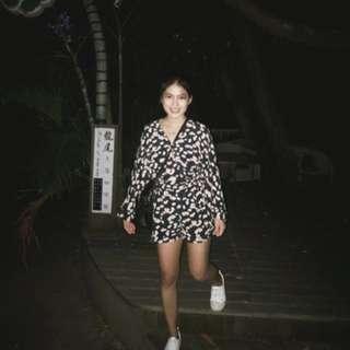 Zara超美質感花樣連身褲/洋裝
