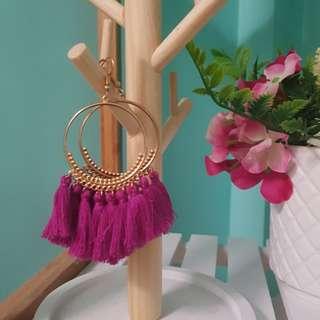 Gold & Pink Tassel Earrings