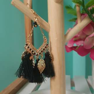 Black and gold leaf tassel earrings