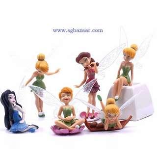 6pcs/Set Tinkerbell Dolls Flying Flower Fairy  Gift Set