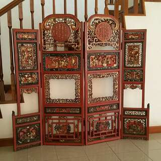 4 panels gold painted woodcraft screen.155cm(L),152cm(H).