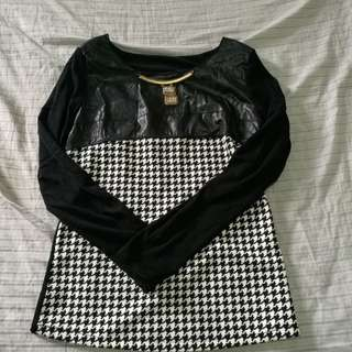 Blouse with mesh, leather and metal neck detail