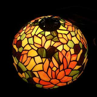Tiffany  Style Antique Stained Glass Hanging Lamp.. Brass Holder