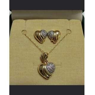Diamond Heart Pendant and Earrings Set (Designer Piece)