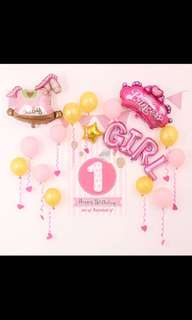 It's A Girl Baby Shower/Birthday Balloon Party Set
