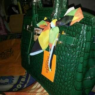 Tas hermes croco hijau