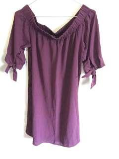 Maroon/Purple sleeve knot dress
