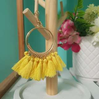Gold and yellow tassel earrings