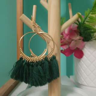 Gold and dark green tassel earrings