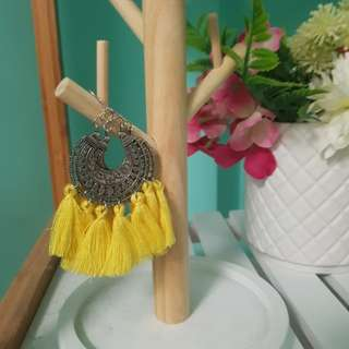 Silver and yellow boho tassel earrings