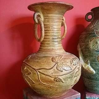 Antique Vintage Clay  Vase  With Side Rings