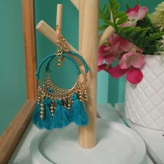 Gold and aqua circle tassel earrings